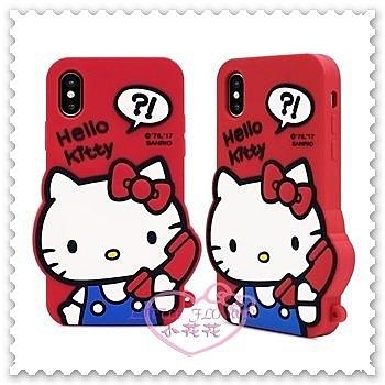 ♥小花花日本精品♥ Hello Kitty iPhone X 站姿 打電話 立體矽膠 果凍套 哈囉凱蒂 紅色 (預購)