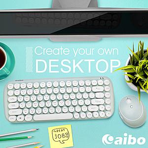 【aibo】KM12 棉花糖打字機 2.4G無線鍵盤滑鼠組湖水藍