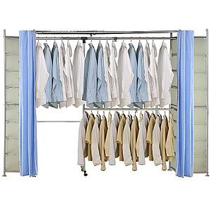 巴塞隆納─AH-33伸縮衣櫥 前布簾水藍色不織布