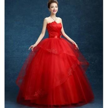 二点送料無料ロングウエディングドレス花嫁ボリュウムフリルドレス結婚式二次会パーティーカラードレス演出ドレス舞台ダンス衣装写豪華真撮影ドレス 赤