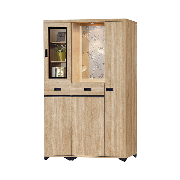 【采桔家居】 史加德 時尚4尺木紋四門高雙面櫃/玄關櫃