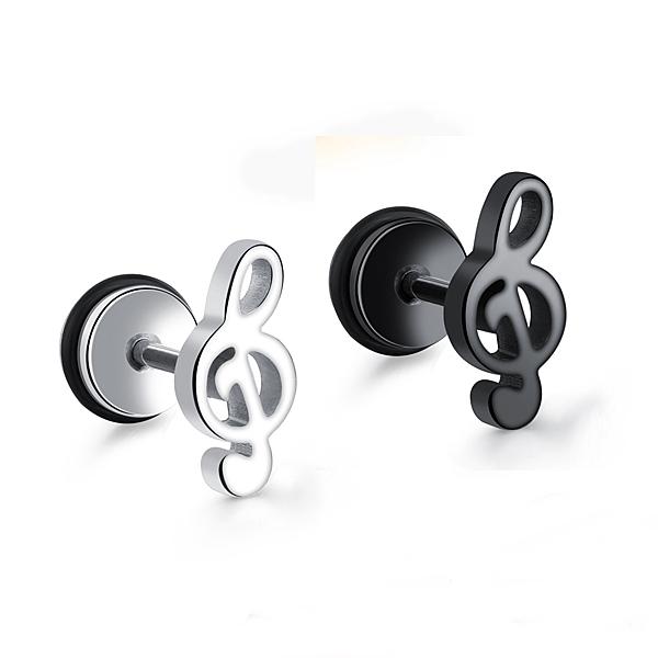 316L醫療鋼 高音符號 旋轉式耳環-銀、黑 防抗過敏 單支販售