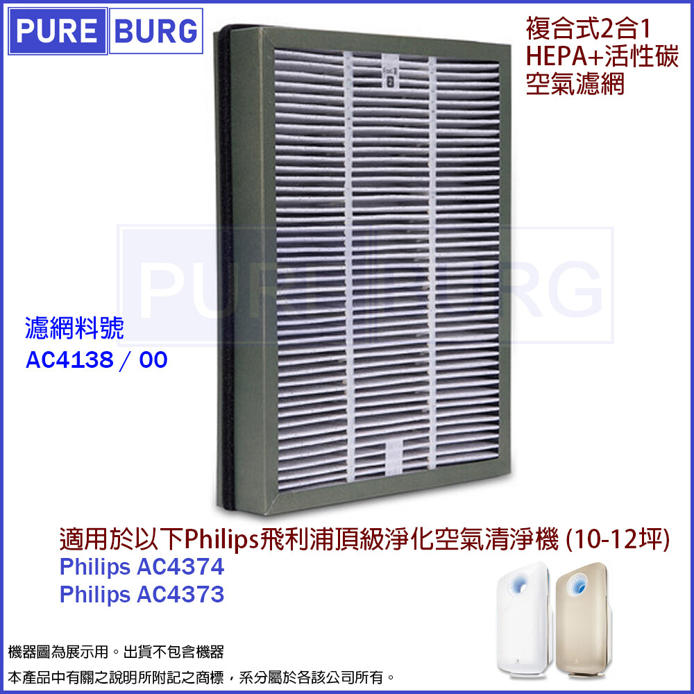 適用philips飛利浦ac4374 ac4373頂級空氣清淨機複合式2合1活性碳hepa濾網