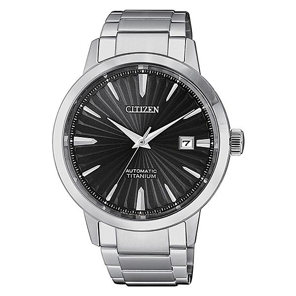 【台南 時代鐘錶 CITIZEN】星辰 沉穩品味紳士氣質鈦金屬機械錶 NJ2180-89H 黑/銀 41mm