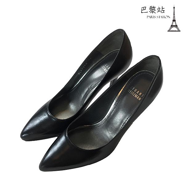 【巴黎站二手名牌專賣店】*全新現貨*Stuart Weitzman 真品*黑色皮高跟鞋(36/37.5/38.5號)