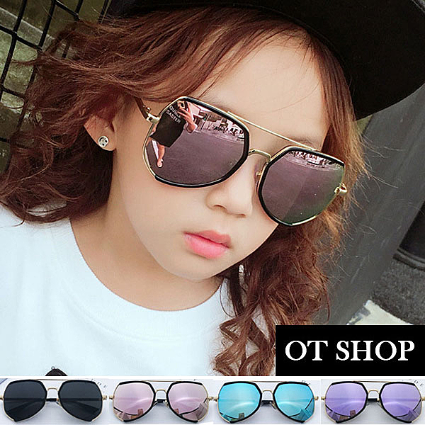 OT SHOP兒童太陽眼鏡‧墨鏡時尚兒童穿搭配件旅遊踏青遮陽韓版‧反光/粉/紫/藍/全黑‧現貨‧K24