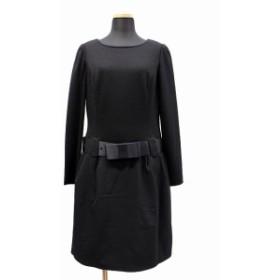 【中古】未使用品 エムズグレイシー M'S GRACY ニットセーター ドッキング ワンピース リボンベルト付 38 黒 ブラック