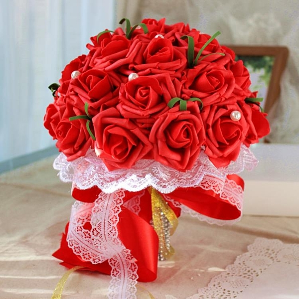 新娘手捧花結婚仿真玫瑰花束婚紗拍照道具