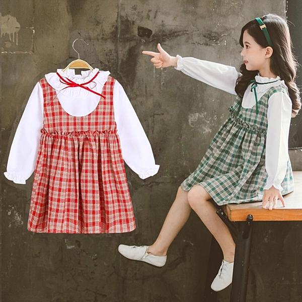 *╮小衣衫S13╭*中大童花邊領假2件長袖公主裙洋裝1081007