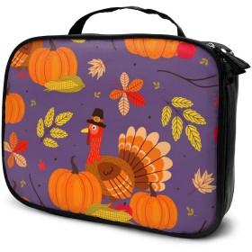 Jingoo 幸せな感謝祭 化粧ポーチ メイクバッグ バニティケース 小物入れ 旅行 折り畳み 大容量