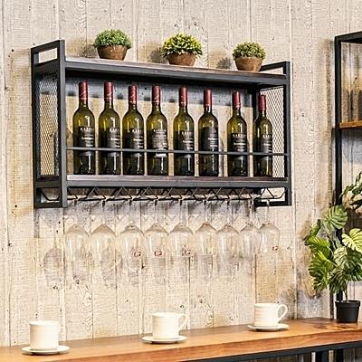 北歐酒架壁掛鐵藝實木墻上置物葡萄酒展示架紅酒架酒杯架高腳杯架WY【快速出貨】