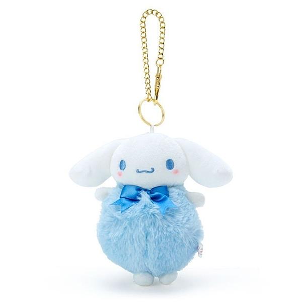 〔小禮堂〕大耳狗 毛球造型絨毛玩偶娃娃吊飾《藍白》掛飾.鑰匙圈.鎖圈 4901610-03598