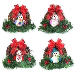 【摩達客】聖誕彩雪人樹藤花圈對組 一組兩入(隨機出貨)