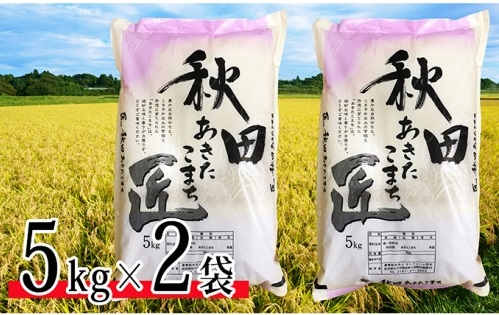 稲穂と「あきたこまち」の米袋2つ