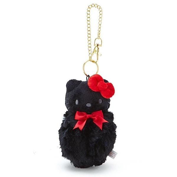 〔小禮堂〕Hello Kitty 毛球造型絨毛玩偶娃娃吊飾《黑紅》掛飾.鑰匙圈.鎖圈 4901610-03586
