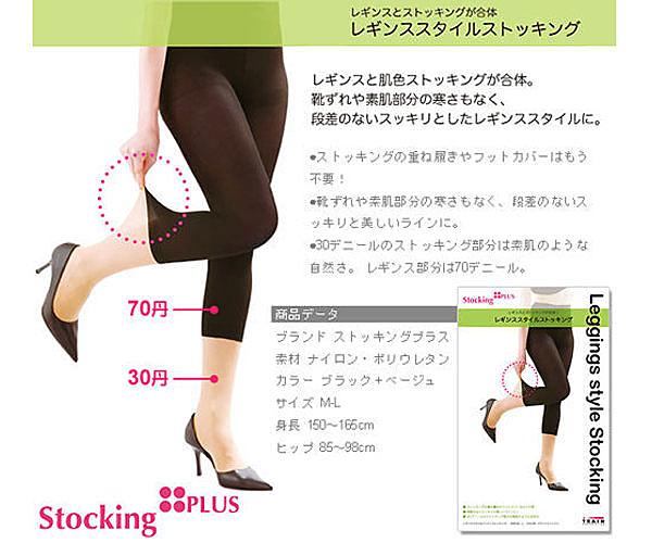 【出清】StockingPLUS 雙色平腹翹臀假七分褲襪 【PQ 美妝】