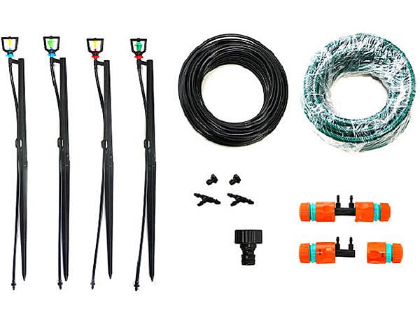 美國Raindrip雙孔(簡易型)灑水器加(四轉兩分兩孔)2分噴頭50cm插針式組合(可噴灑半徑30~100cm)