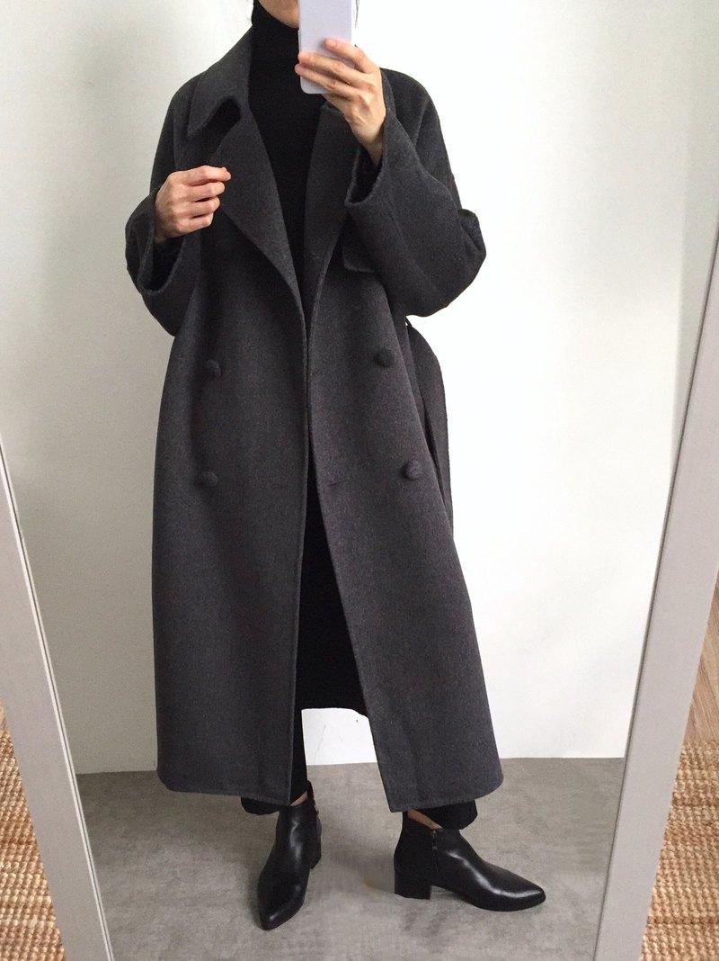 Mischa Coat 全手縫大翻領雙排扣拉克蘭雙面羊毛外套 多色/可訂做