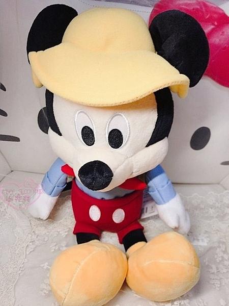 ♥小花花日本精品♥迪士尼 DISNEY 米奇 MICKEY坐姿背包露營系列娃娃布偶玩偶12348408