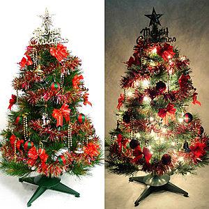 摩達客 台灣製3尺90cm綠松針葉聖誕樹-紅金系配件+100燈鎢絲樹燈一串