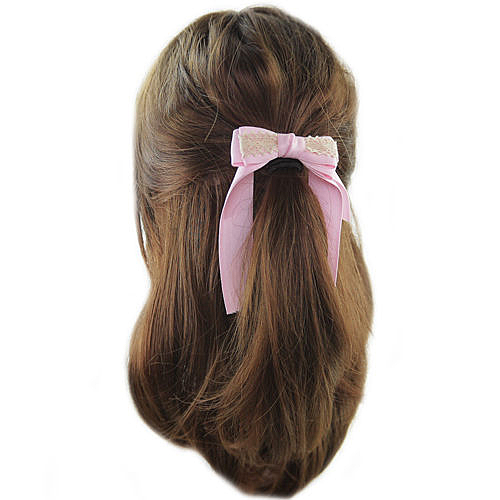 【粉紅堂 髮飾】甜美蕾絲緞帶蝴蝶結髮束 *粉紅色*