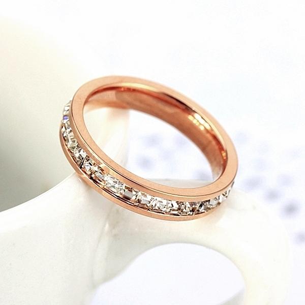316L醫療鋼 排鑽 白水晶戒指-玫瑰金 防抗過敏 不退色