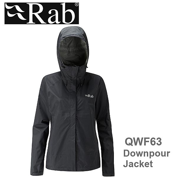 【速捷戶外】英國 RAB QWF-63 Downpour Jacket 女高透氣連帽防水外套(黑),登山雨衣,防水外套