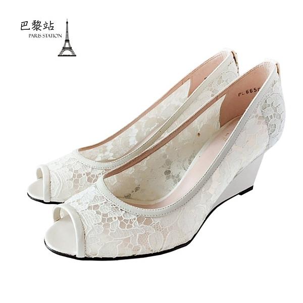 【巴黎站二手名牌專賣店】*全新現貨*Stuart Weitzman 真品*白色蕾絲魚口楔形鞋 (38.5號)