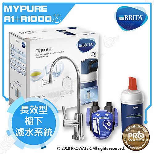智慧型LED顯示器 德國BRITA mypure A1長效型櫥下濾水系統+ A1000濾芯(本組合共2支濾心)