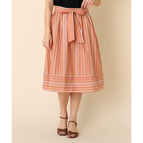 (クチュールブローチ) Couture Brooch ◆【洗える】ランダムストライプスカート 50876903 40(L) ライトオレンジ(366)