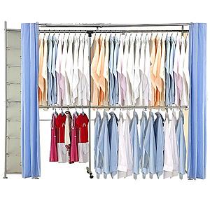 巴塞隆納─AH-26伸縮衣櫥 前布簾水藍色不織布