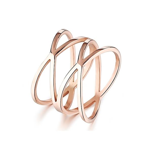 316L醫療鋼 交叉編織 寬版戒指-玫瑰金 防抗過敏 不退色