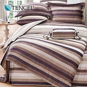【貝兒居家寢飾生活館】頂級100%天絲床罩鋪棉兩用被七件組(雙人加大/紳士格調)
