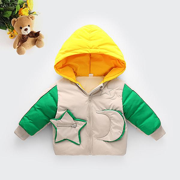 童裝新款男女童加厚保暖連帽棉服寶寶拼色短款棉襖外套冬