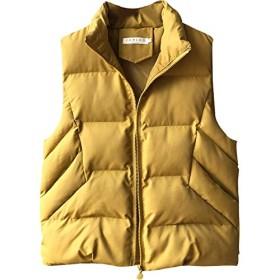 ダウンジャケット ベストコート レディース ダウンコート ショート丈 軽量 冬アウター コート 袖なし 無地 韓国 ふわふわ 防寒 冬 (Color : Yellow, Size : L)