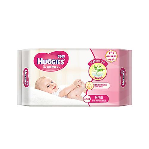 好奇厚型柔潤嬰兒濕巾綠茶抑味80抽【寶雅】