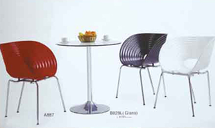 【南洋風休閒傢俱】設計單椅系列 -荷葉椅+60/70cm桌 造型餐椅 塑料餐椅 電鍍餐椅(549-11)
