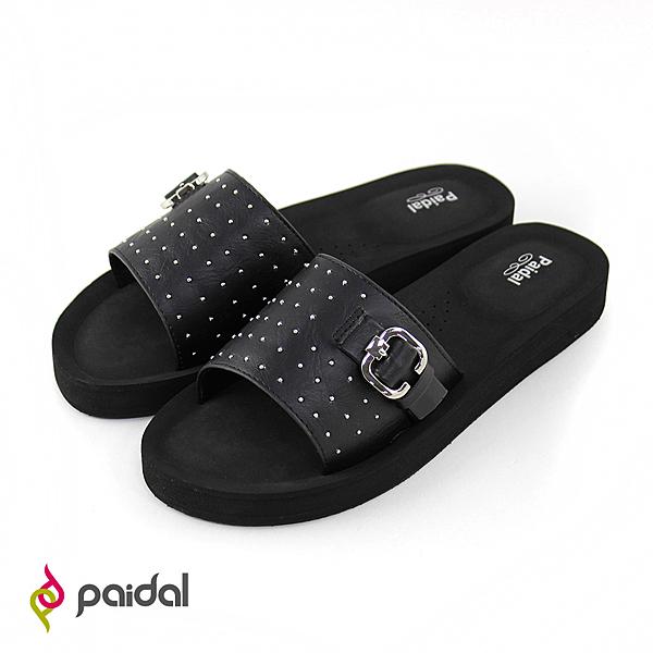Paidal 搖滾鉚釘扣環厚底一片式美型拖-黑