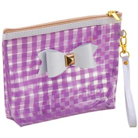 YoGG 蝶々結びつきの手持ちの化粧品袋 防水化粧品袋 収納袋 化粧ポーチ 小物整理 お中元 お歳暮へのプレゼント ギフ (パープル)