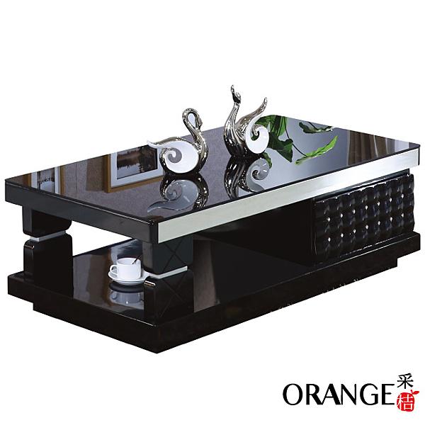 【采桔家居】奧利 時尚黑4.3尺玻璃大茶几