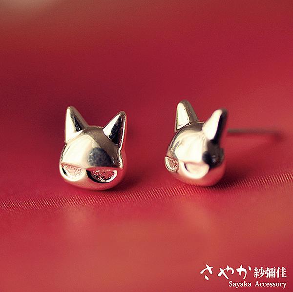 【Sayaka紗彌佳】925純銀眼鏡喵星人耳環-耳針款