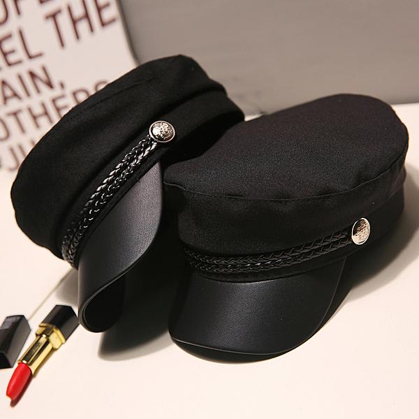 黑色貝雷帽夏季英倫薄款複古百搭海軍帽網紅八角帽子女韓版潮日繫