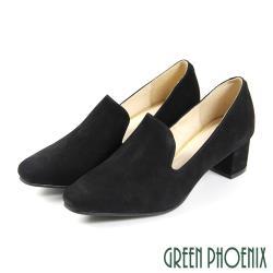 GREEN PHOENIX 素面質感牛麂皮尖頭粗中跟樂福鞋/上班鞋U33-21951