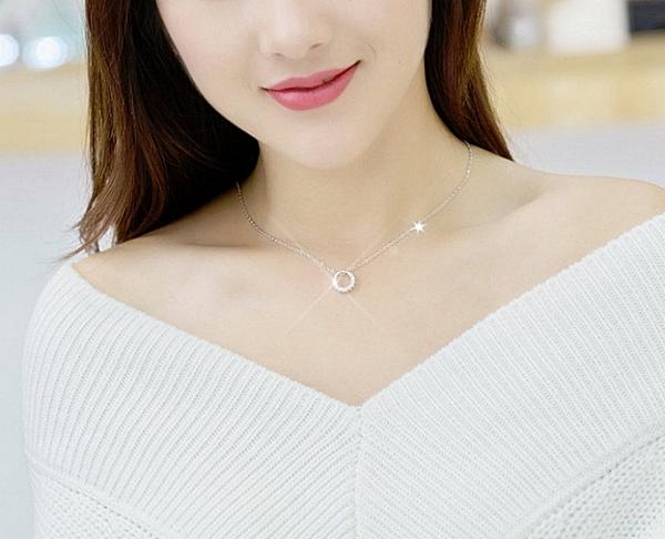 S925純銀女款項鏈 韓版時尚圓圈個性鑲鑽 韓版時尚銀飾品 日韓百搭款 銀飾 鎖骨鏈 純銀飾品