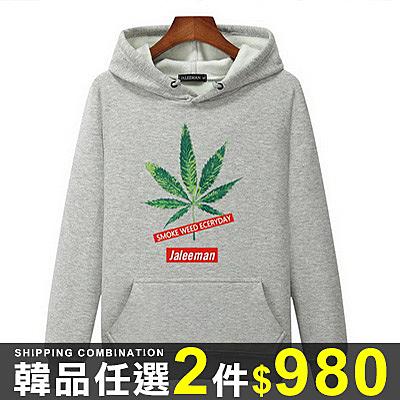 任選2件980長袖T恤韓版百搭字母大麻葉連帽長袖T恤上衣【09B1236】