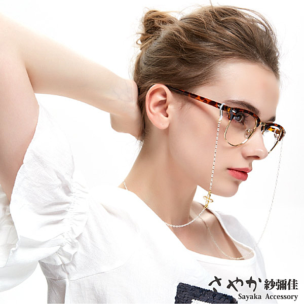 【Sayaka紗彌佳】歐美時尚單邊四葉草造型太陽眼鏡鏤空金屬鍊防滑鍊