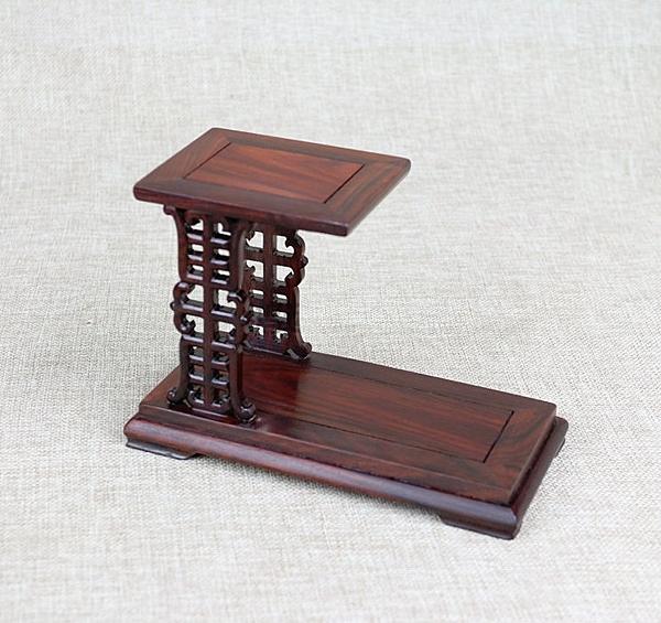 壽字高低展示架 仿古雕花展示架 紅木雕刻藝品 玉石花瓶盆景擺飾專用木架花架木座-小號