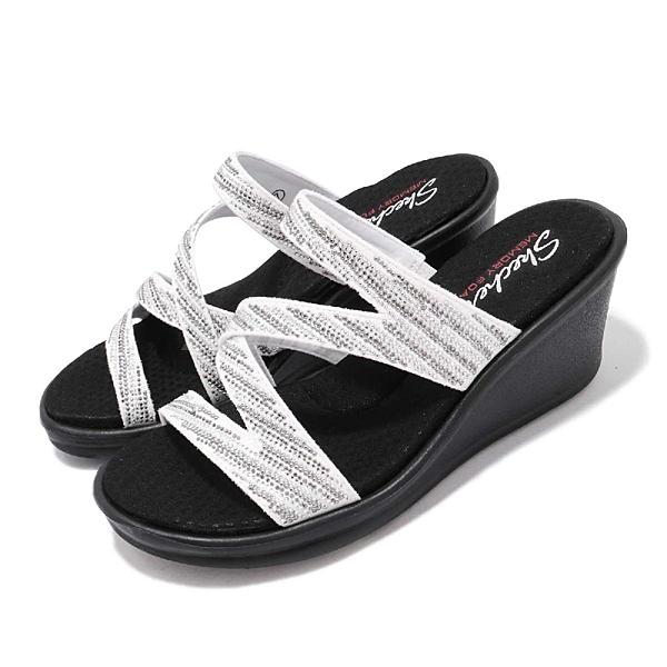Skechers 拖鞋 Rumblers-Mega Flash 白銀 黑底 增高 水鑽 女鞋 【ACS】 32925WSL