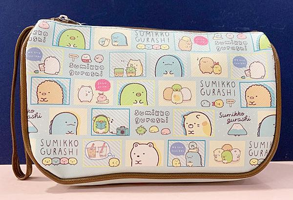 【震撼精品百貨】角落生物 Sumikko Gurashi~SAN-X 隨身收納包/拉鍊化妝包-漫畫藍#10149