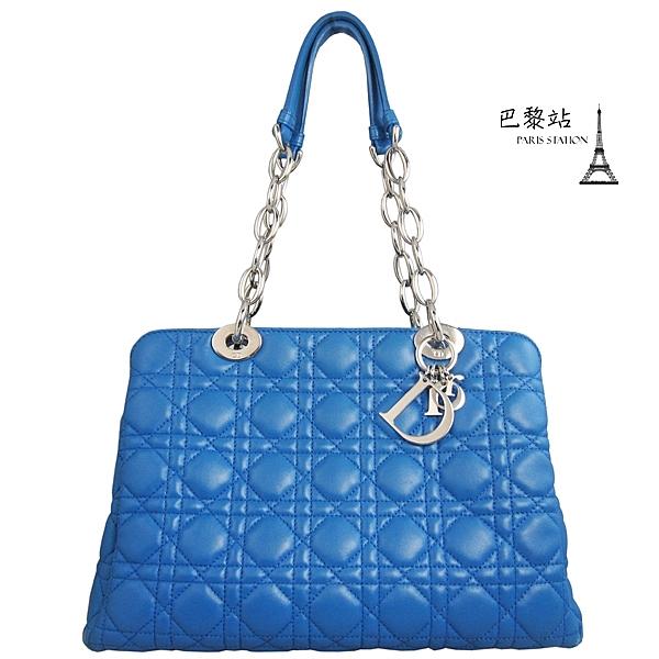 【巴黎站二手名牌專賣店】*現貨*Christian Dior 真品*小羊皮菱格紋銀鍊肩背包 (寶藍色)